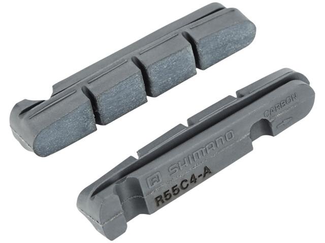 Shimano R55C4 Bremsebelægninger til Cartridge-bremsesko til carbonfælge 1 par grå